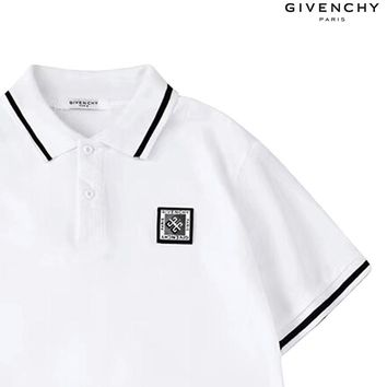 Givenchy 2019 new embroidered chest logo lapel POLO shirt white