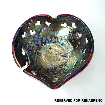 "Heart-Shaped Yarn Bowl Knitting Bowl 'Lembut' Pottery (size 8.75"" x 3.25"") Raku Art - YB1331"