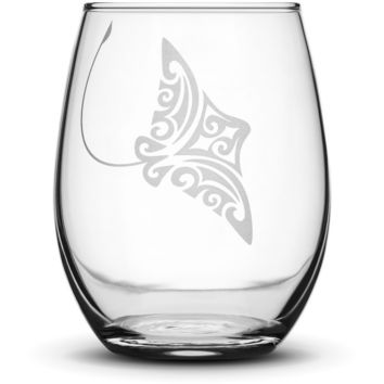 Wine Glass with Tribal Stingray, Hand Etched