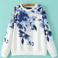 Blue Round Neck Floral Loose Sweatshirt