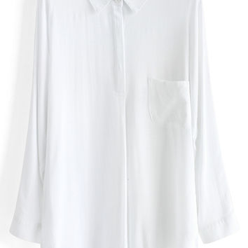 Textured Batwing Shirt in White White S/M
