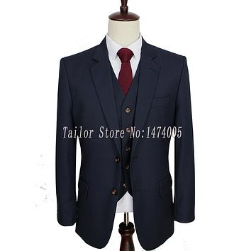 Worsted Wool Dark Blue Custom Made Men Suit Groom Tuxedos Tailor Made Slim Fit Wedding Suits For Men 3 Piece
