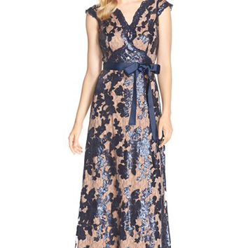 Women's JS Collections Sequin Lace Fit & Flare Gown,