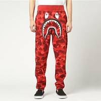 BAPE AAPE Classic Popular Men Women Casual Camouflage Sport Pants Trousers Sweatpants Red