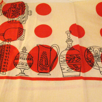 Vintage Dish Towel Red Circles Bar towel by colorsoulartistry