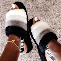 """UGG"" Winter High Quality Hot Sale Women Casual Fluff Yeah Slippers Shoes Black White"