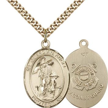 14K Gold Filled Guardian Angel Coast Guard Military Catholic Medal Necklace 617759453690