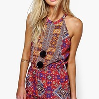 Freya Cut Away Shoulder Printed Playsuit
