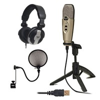 CAD Audio U37 USB Studio Recording Microphone with Knox Pop Filter & Full-Size Headphones