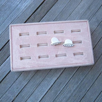 Pink Felt or Velveteen Vintage Ring Display Box; 9-Slot Ringholder w/ 2 'Sold' Markers for Jewelry Display; Home