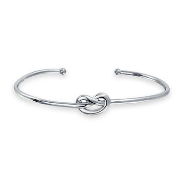 Thin Love Knot Cuff Bracelet Stackable Women High 925 Sterling Silver