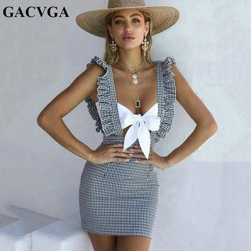 GACVGA 2018 sexy backless summer dress sleeveless off shoulder striped women dress ruffles casual strap mini dresses robe femme
