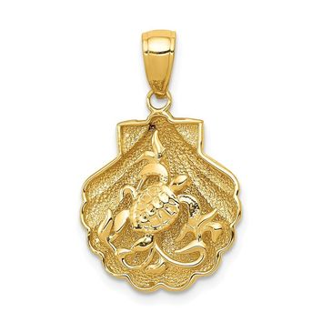 14k Yellow Gold Sea Turtle and Kelp in a Scallop Shell Pendant