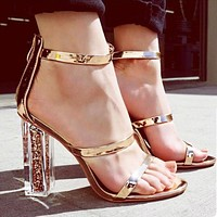 Fashion Trendy Open-toed Crystal Coarse Square High-heeled Sandals Gold