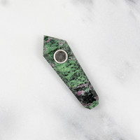 Ruby Green Epodite Stone Pipe