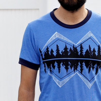 Crater Lake mens tshirt. mountain t-shirt. Father's Day gift for him. American Apparel ringer tee S M L Xl