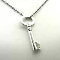 Silver Key Necklace Mary Margaret Snow White OUAT Once Upon A Time Inspired Jewelry (20 Inches)