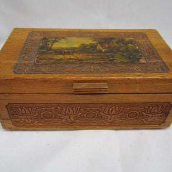 Hand Carved Wood Chest Jewelry Box With Mirror Vintage Wood Jewelry Box Mid Century Stash Box