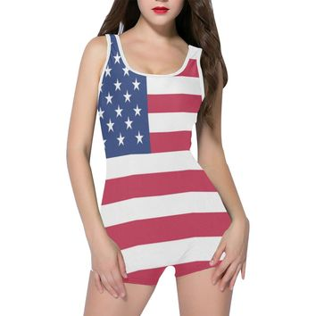 Red, white, and blue flag one piece boyleg swimsuit