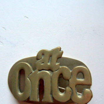 Vintage At Once Brass Paper Clip Desk Accessory