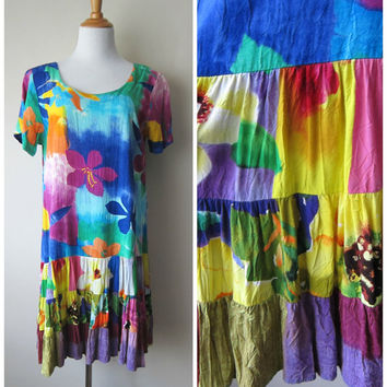 JAMS WORLD Hattie Dress in Tissue Flower, Colorful Bright Blue/Purple Floral Hawaiian Island Drop Waist Shift Dress w/ Tiered Skirt, Size L
