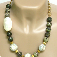Green Statement Necklace Jasper Shell Gold Chain Long Single Strand Handmade