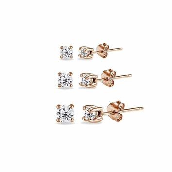 93b7f8550 3 Pair Set Round CZ Stud Earrings in Rose Gold Plated 925 Silver