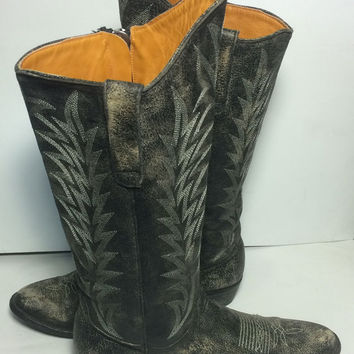 "OLD GRINGO Razz 13"" Black Leather Western Cowboy Cowgirl Boots Women's Size 9.5"
