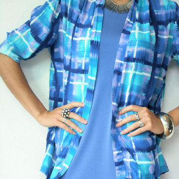 ON SALE.... Vintage 80's Abstract Geometric Tie Dye Watercolor Draped Cardigan Blazer Jacket