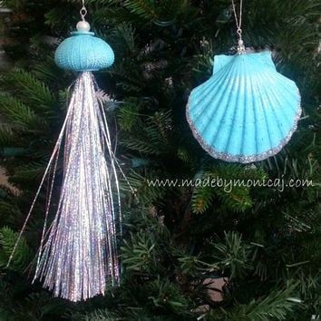 Beach Seashell Ornaments - Aqua.  Set of two.  Jellyfish and Scallop Shell Christmas Decorations.