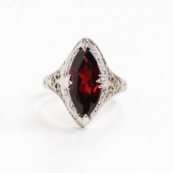 Vintage Art Deco 14k White Gold Filigree Garnet Ring - Antique 1920s Size 6 1/2 Red Maroon Marquise Navette Gemstone Statement Fine Jewelry