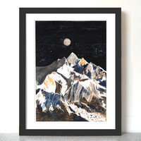 Kanchenjunga mountain art illustration A3 Print (11.69 in x 16.54 in)