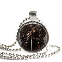 Game of Thrones Eddard Stark Silver Plated Picture Pendant Necklace