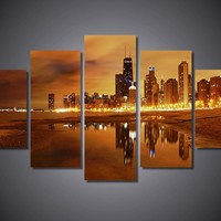 Chicago Late Evening 5-Piece Wall Art Canvas Chicago Skyline