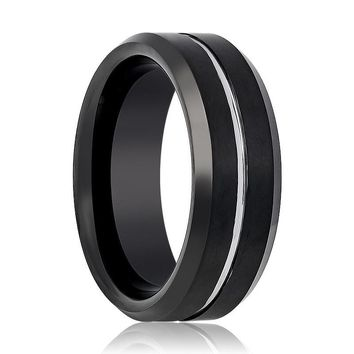 Aydins Tungsten Mens Wedding Band Black Brushed w/ Silver Groove 8mm Tungsten Carbide Ring