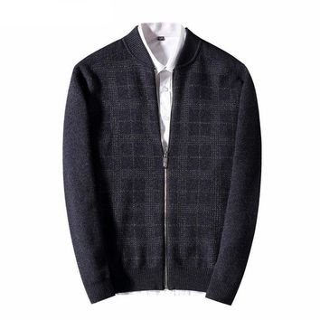 Sweater Men New Winter Thick Warm Merino Wool Cardigan Casual Plaid Zipper Cashmere Sweater coat