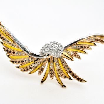 Joan River Bird Brooch with Enamel & Rhinestones 4""