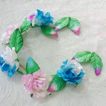 Light Pink blue rose leaves flower crown Large rose  headband /flower crown /floral headpiece/ flower crown ribbon tie back