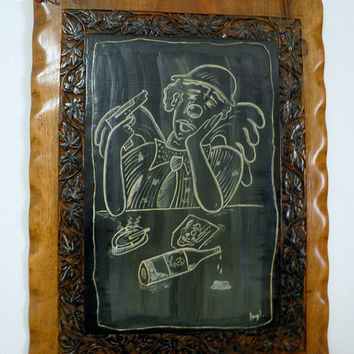 Sad clown by Angel's Art (black and white painting), painting on wood, bar decoration, depression, gothic, rock style,