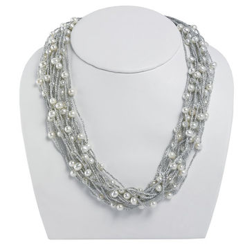 Silver Threaded Cord Multi Strand Freshwater Pearl Necklace - 16 Inches