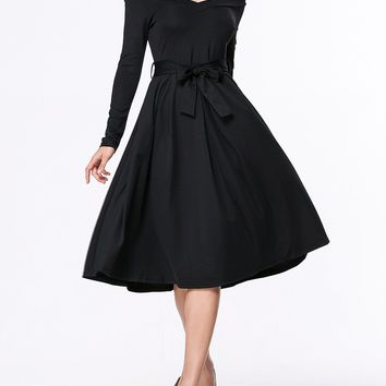 Casual Off Shoulder Bowknot Plain Skater Dress