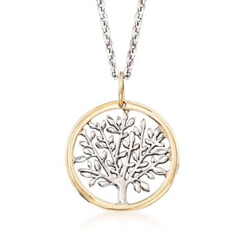 Gold Edge Praying to the Tree of Life Necklace in 18K Gold Plated