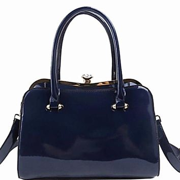 Pleasant Patent Hand Bag in NAVY