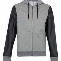 GREY HOODY WITH LEATHER LOOK SLEEVES