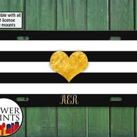 Black White Stripes Golden Heart Monogram Cute Tumblr Inspired Custom Accessory Front License Plate Car Tag One Size Fits All Vehicle Custom
