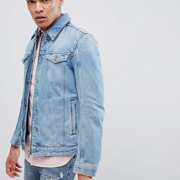 HUGO Zip Denim Jacket In Blue at asos.com