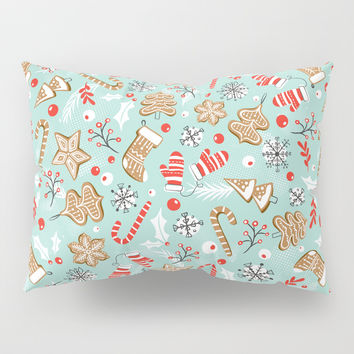 Gingerbread Dreams - Aqua Pillow Sham by heatherduttonhangtightstudio