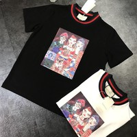 """Gucci"" Fashion Retro Graffiti Pattern Multicolor Stripe Short Sleeve Women T-shirt Top Tee"