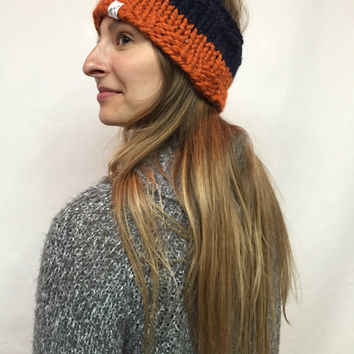 Knit Headband Chicago Bears Colors Navy And Orange Warm And Cozy