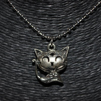 Silver Smiling Cat with Flower Designs Pendant Necklace